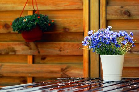 Outdoor design composed with natural wooden furniture and flowers photo
