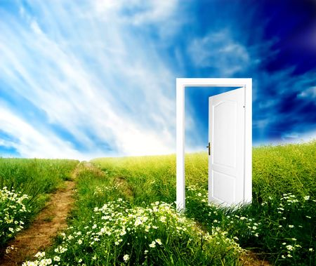optimistic: Door to new world. Colourful, bright, great quality. Stock Photo