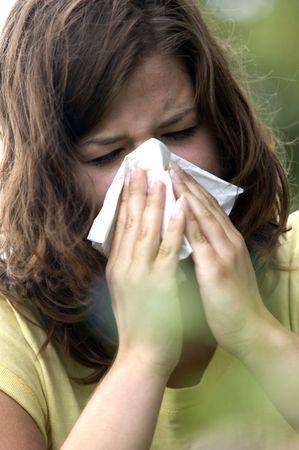Pretty woman sneeze. Allergy season