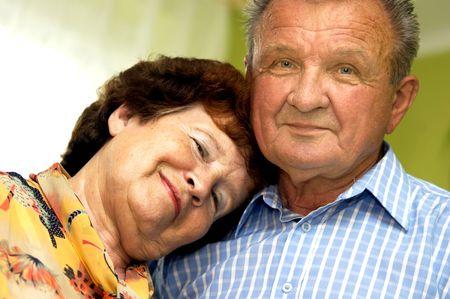 Happy romantic senior couple in home Stock Photo - 3581469