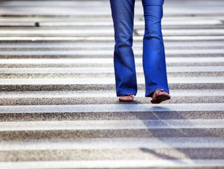 A woman on pedestrian crossing Stock Photo - 3581097