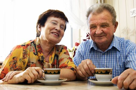 Happy senior couple in home Stock Photo - 3586726