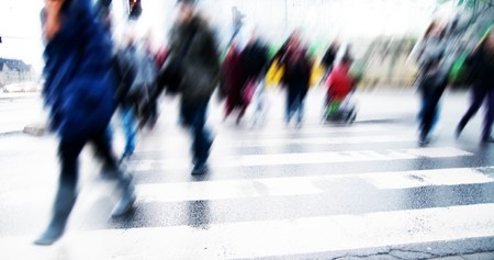 Pedestrian crossing rush. People moving motion Stock Photo