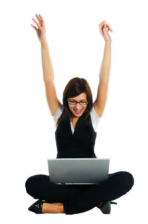 Successful busineswoman with laptop on white background Stock Photo - 4316132