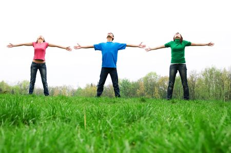 Group of friends expressing freedom photo