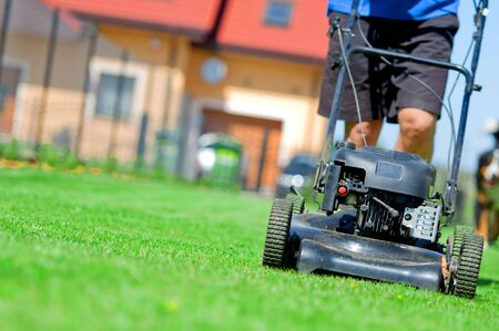 Man mowing the lawn. Gardening Stock Photo - 5340173