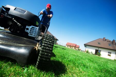 Man mowing the lawn. Gardening  Stock Photo - 5340198