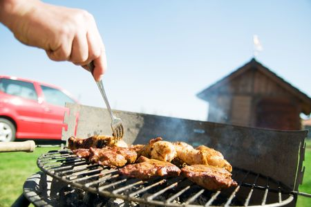 Cooking on the barbecue grill photo