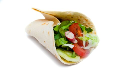turkish kebab: Turkish kebab with vegetables on white background Stock Photo
