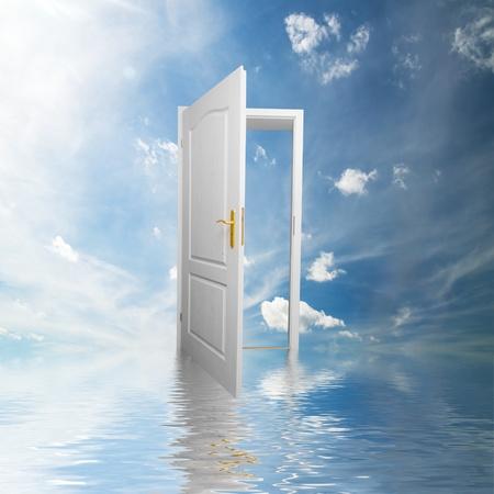 Door to new world. Open door in sky conceptual. Other original versions of this concept available in my portfolio. photo