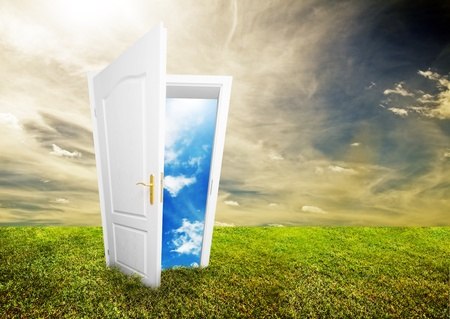 ways: Open door to new life on the field. Hope, success, new life and world concepts. Other original versions of this concept available in my portfolio. Stock Photo