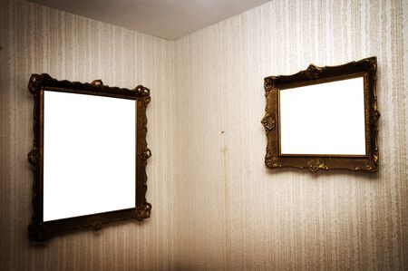 ornamented: Old ornamented frames on retro grunge wall
