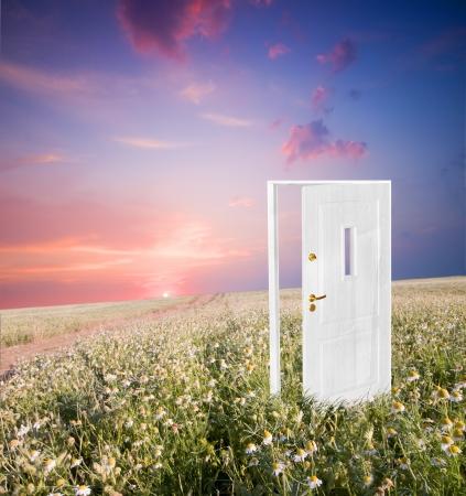 Abrir la puerta a la nueva vida en el campo. Espero, �xito, nuevos conceptos de la vida y el mundo. Foto de archivo - 8579959