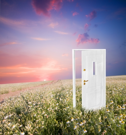 Abrir la puerta a la nueva vida en el campo. Espero, éxito, nuevos conceptos de la vida y el mundo. Foto de archivo - 8579959