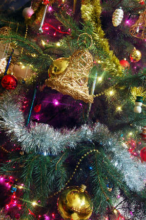 toygift: Christmas tree decorated with glass balls and ornaments