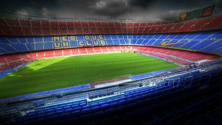 BARCELONA ESPAÑA - 2011 vacaciones de verano: El estadio Camp Nou en el estado de ánimo colorido, dramático, España. Vacaciones de verano 2011, Barcelona, ??España.