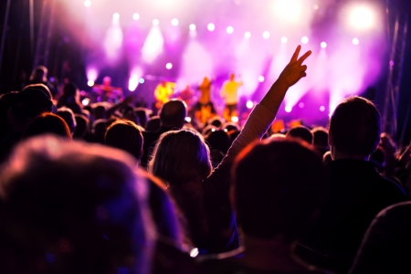 Crowds of people having fun on a music concert Stock Photo