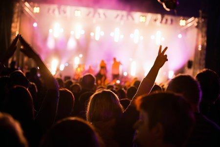 live entertainment: Crowds of people having fun on a music concert Stock Photo