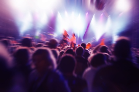 discotheque: Crowds of people having fun on a music concert Stock Photo