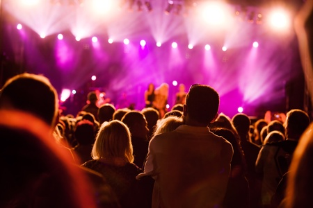 entertainment: Crowds of people having fun on a music concert Stock Photo