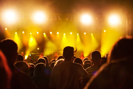 Crowds of people having fun on a music concert photo