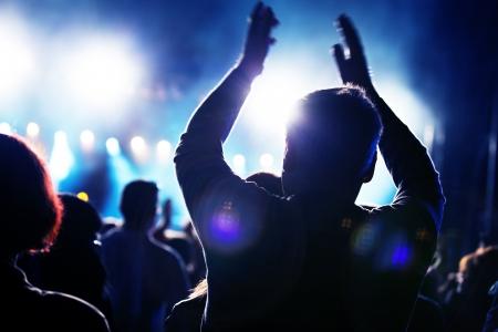 표시: 사람들이 음악 콘서트에 재미의 군중 스톡 사진