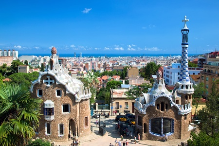 secession: Building in Park Guell, view on Barcelona, Spain