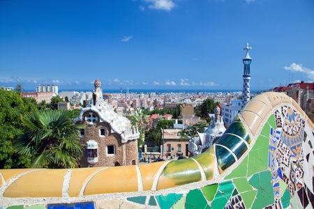 barcelona spain: Mosaics in Park Guell, view on Barcelona, Spain