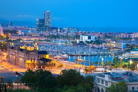 Barcelona, Spain skyline at night. Horbor view