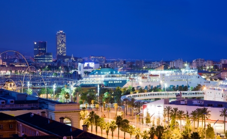 Barcelona, Spain skyline at night. Horbor view Stock Photo - 10859174