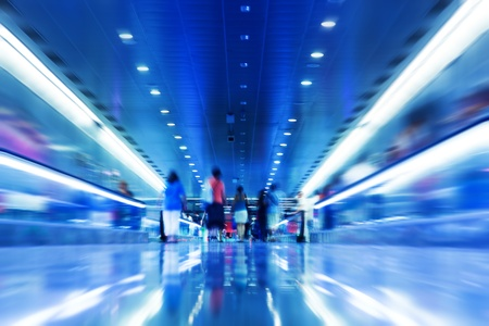 blur subway: People rush in subway. Conceptual motion blur, fast pace of life