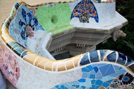 Mosaic sculpture in the Park Guell, in Barcelona, Spain photo