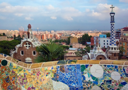 guell: Building in Park Guell, view on Barcelona, Spain