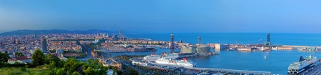 Barcelona, Spain at summer. Very wide, high quality panorama