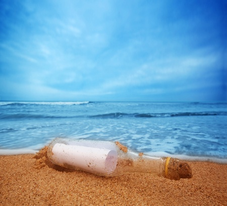 message bottle: Message in the bottle from ocean. Travel, tourism, coming message concepts