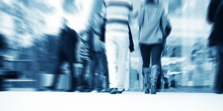 panoramic business: People in rush in the shopping mall. Abstract blur motion