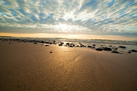 romantic sky: Romantic gold sunrise over ocean. Dramatic sky