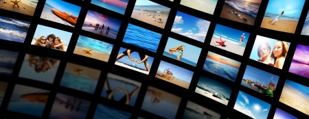 Modern TV screens video panel featuring summer, vacation time. photo