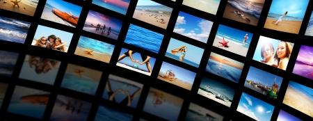 personas viendo television: Pantallas de televisión moderno panel de video con el verano, tiempo de vacaciones.