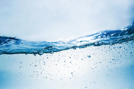Clean water wave with bubbles. Fresh photograph photo