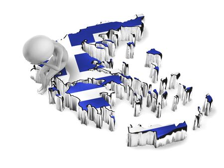 Greece crisis conceptual. Little 3d guy sitting on Greece map photo
