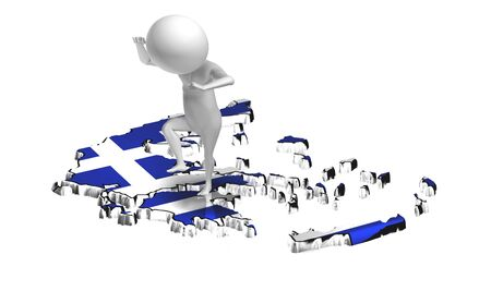 greek flag: Angry little 3d guy jumping on Greece map. Conceptual, crisis in Greece Stock Photo
