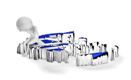 greece map: Greece crisis conceptual. Little 3d guy sitting on Greece map