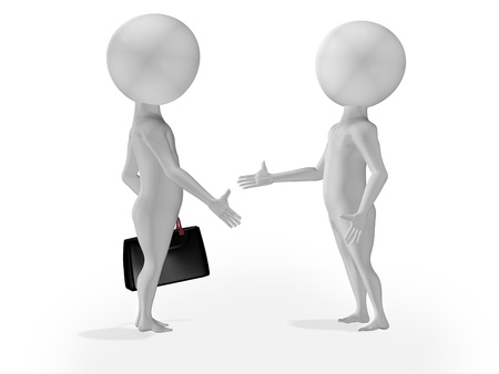 3d little people business deal, handshake Stock Photo - 12504825