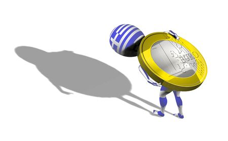 A little 3d guy in Greece flag carrying 1 euro coin on his back. Conceptual photo