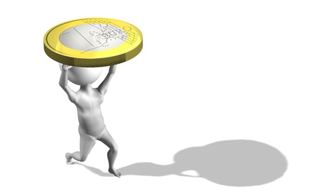 A little 3d guy carrying 1 euro coin. Conceptual photo