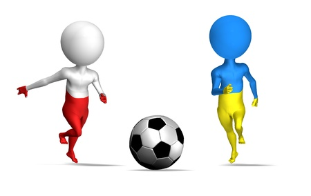 Euro 2012 in Poland and Ukraine 3d concept. Two guys running to soccer ball photo