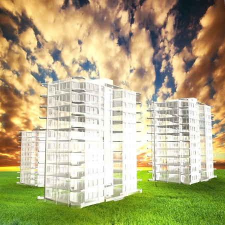 New blocks of flats project on field at sunset. Real estate photo