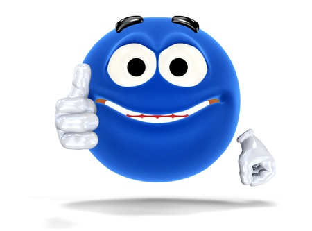 blue face: Happy smiley face, emoticon showing ok sign. On white Stock Photo