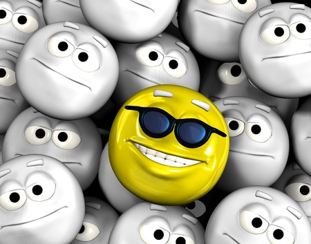 indifferent: Happy smiling emoticon face among other grey, neutral, indifferent faces